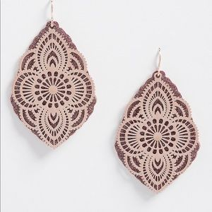 Moroccan gold Laser cut EARRINGS layered mirrored boho bohemian jewelry Floral